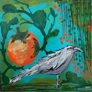 acrylic painting of a tomato, a white raven, and red flowers hanging from a vine