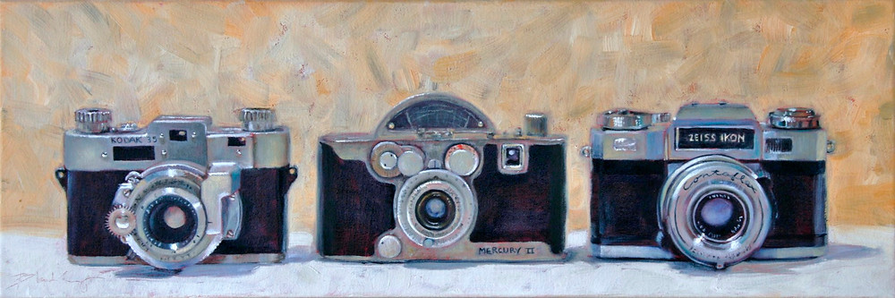 Oil painting of three vintage cameras with a peachy orange background