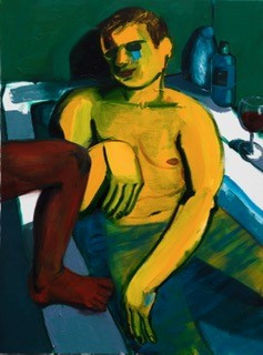 painting of man in tub