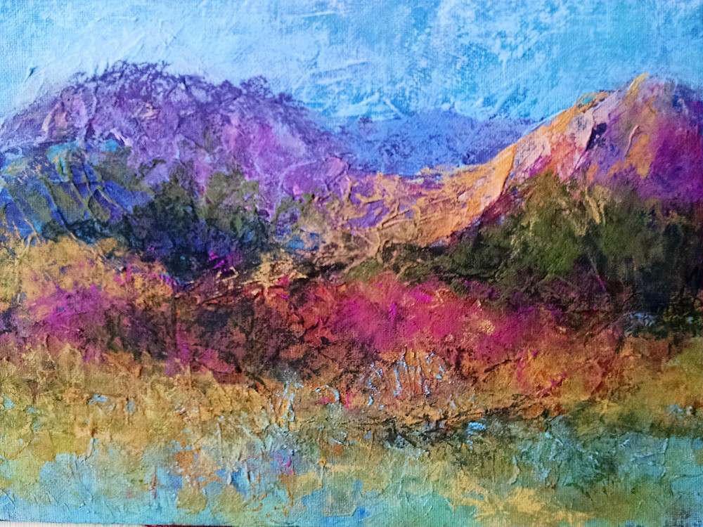 Pastel painting of mountains