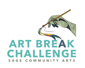 Logo for Artbreak Challenge that includes illustration of a hand holding a paintbrush