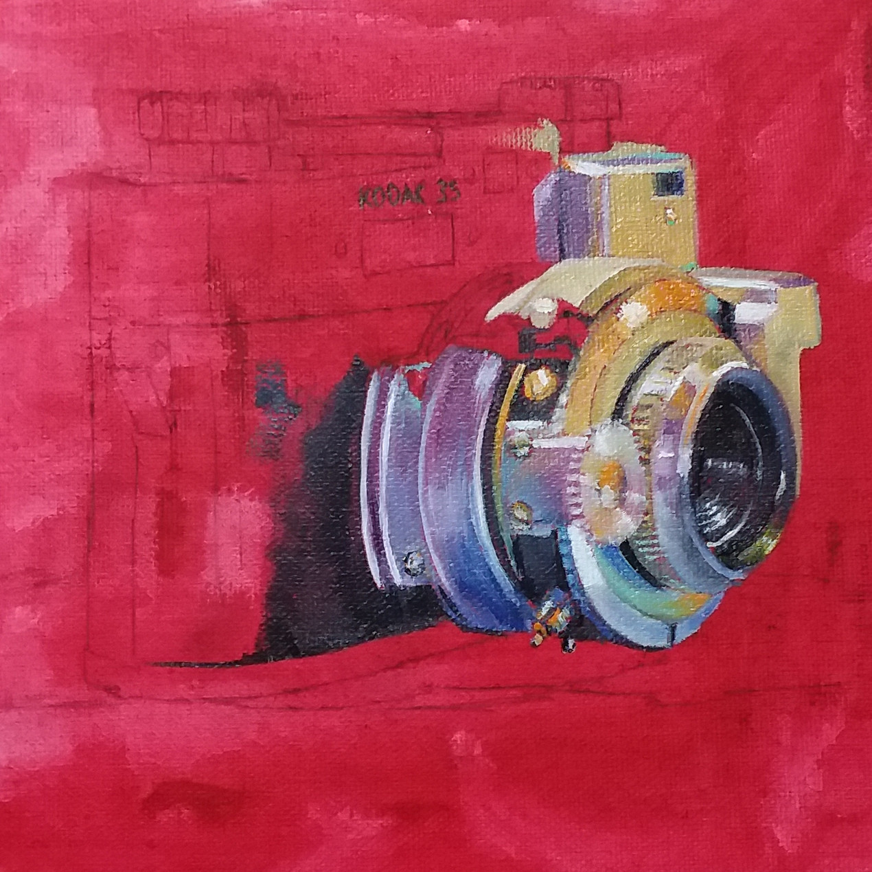 A painting in progress of an old camera