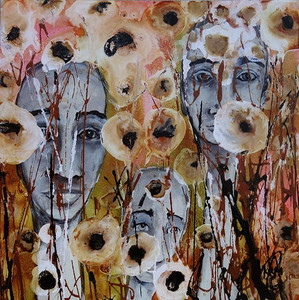 abstract painting of gold flowers with human faces showing through flower stems
