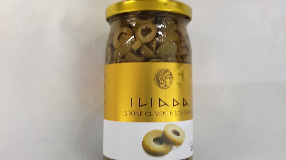 ILIADA Grüne Oliven in Scheiben 370g
