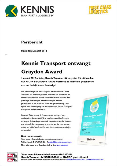 Persbericht Kennis TransportSigning Kennis Transport - Bij Don reclame en vormgeving