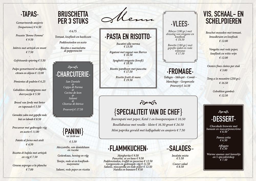 Menukaart restaurant - Bij Don reclame en vormgeving