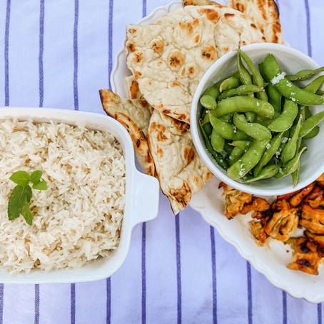 Curried Chicken Satay with Coconut Rice