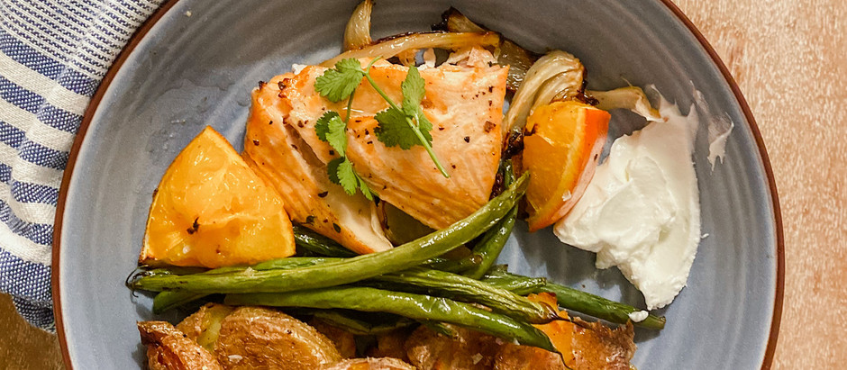 Roasted Citrus + Herb Salmon with Crispy Potatoes