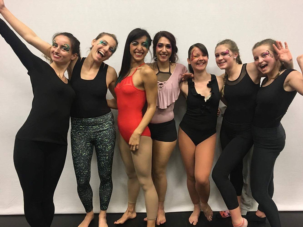 A group of cheerful aerialists after the student show on 8th April, 2017