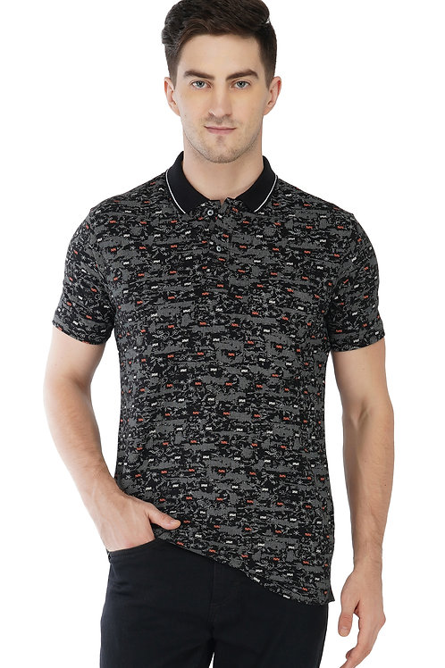 Printed Cotton Polo With Pocket