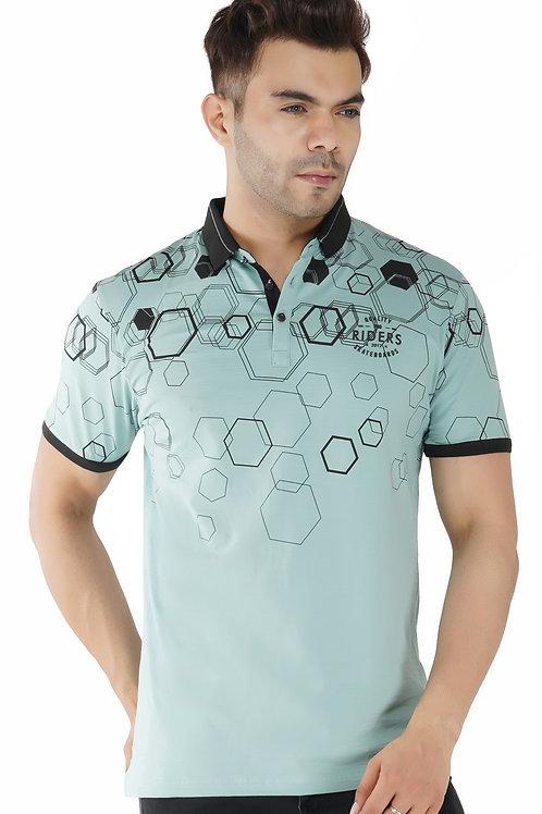 Geometrical Print Green Cotton Lycra Polo