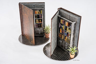 Book library art miniature sculpture in steel