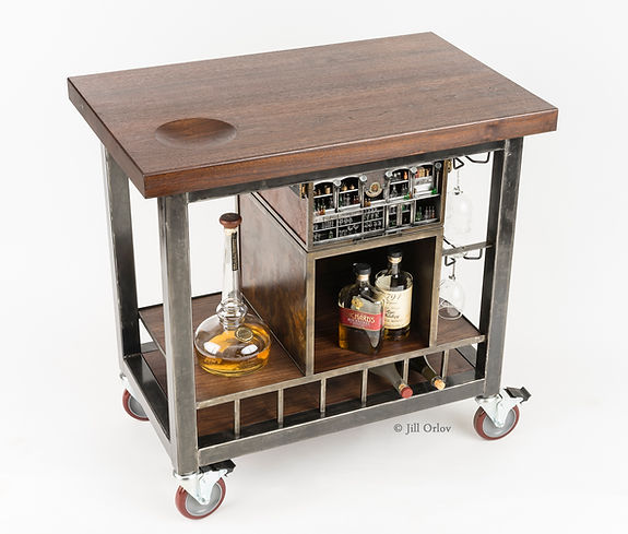 Back Bar Cart with miniature bar in drawer front