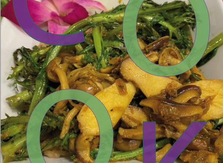 Sautéed Shingiku with Mushrooms &  Turmeric