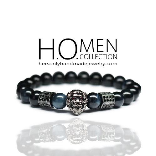 Dark Night Tigers Eye men bracelet