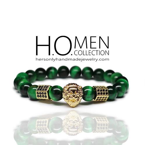 Emerald Tigers Eye men bracelet
