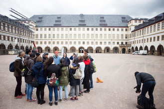 Walking through a brief history of shapes of stages - Schloss Friedenstein in Gotha, just before entering the baroque Ekhof Theatre