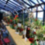 Bio Blumen Dekoration im neuen Glashaus.