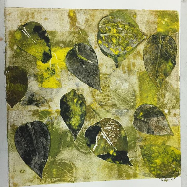 Monoprint: A Study in Leaves #3