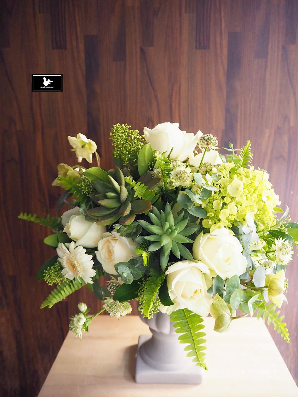 圓形鮮花盆花