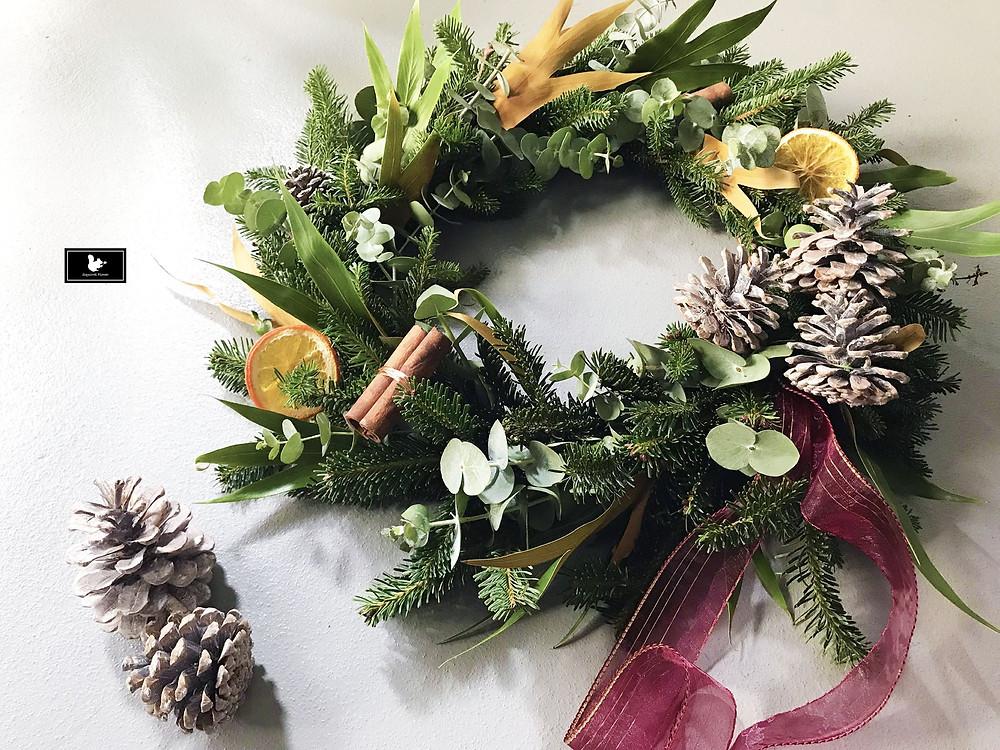新竹花藝課程;聖誕花圈