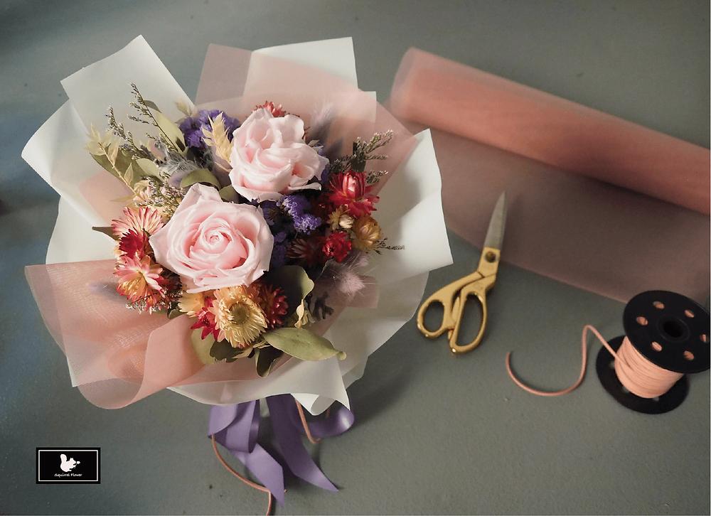 粉紫色乾燥不凋花束