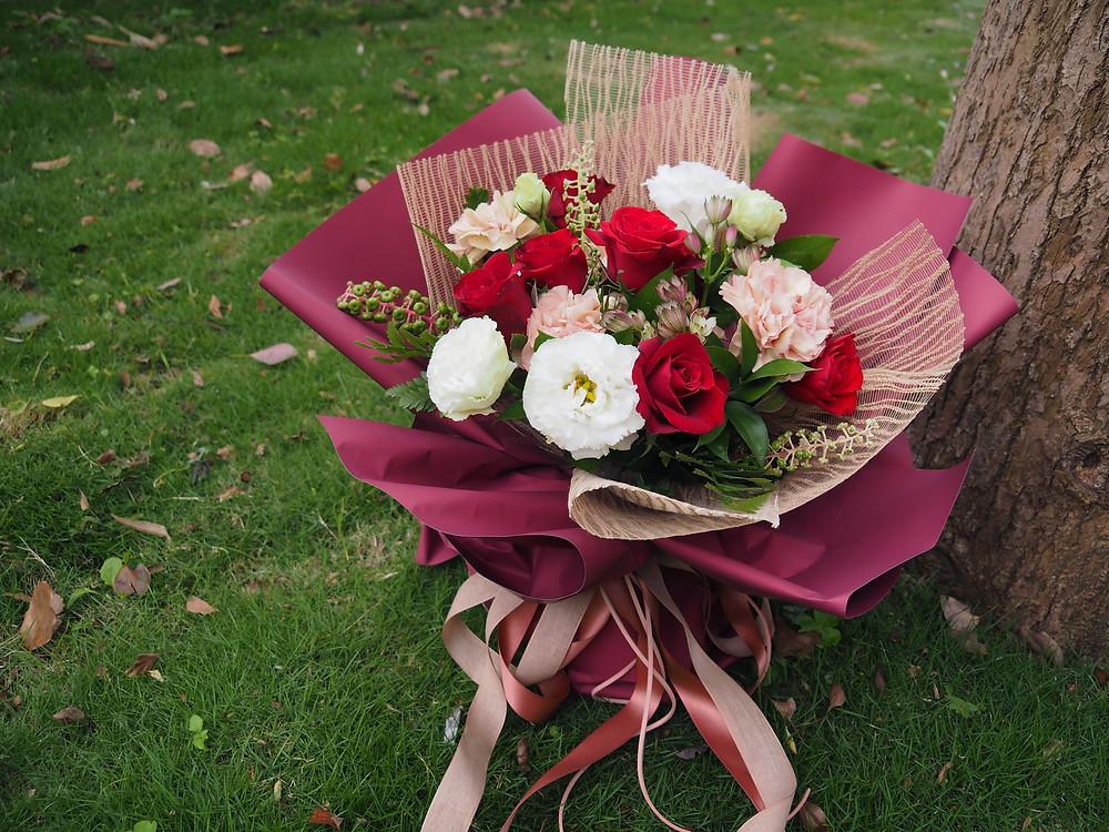 古典紅粉包裝花束
