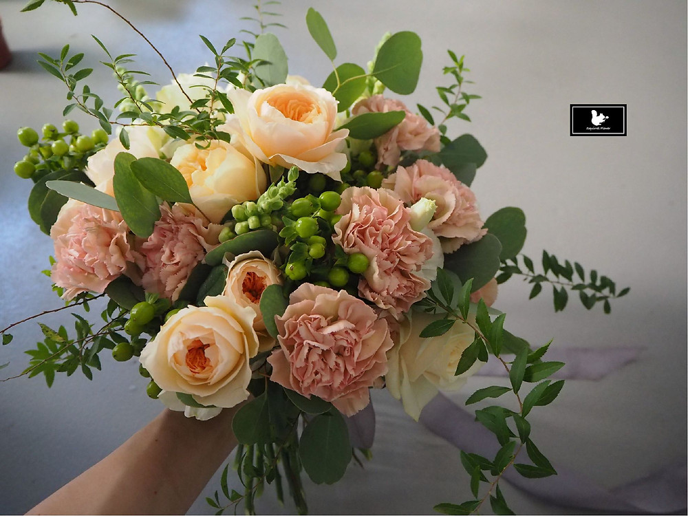 庭園玫瑰捧花