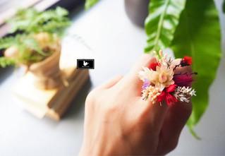 乾燥花戒指與同款花束