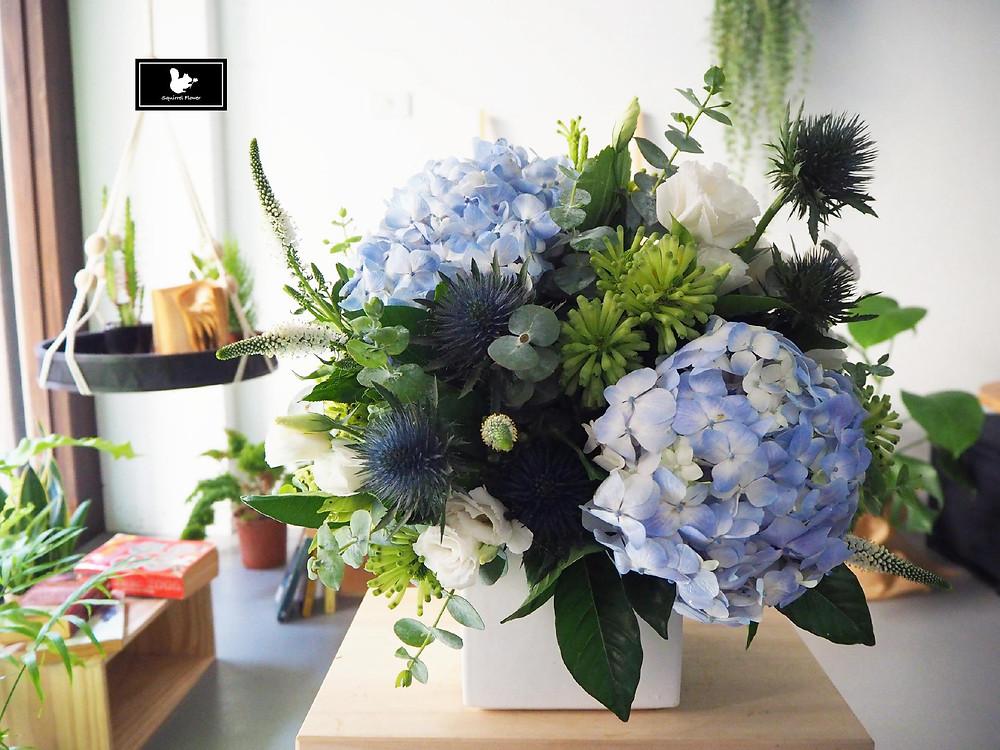 藍綠白色系盆花