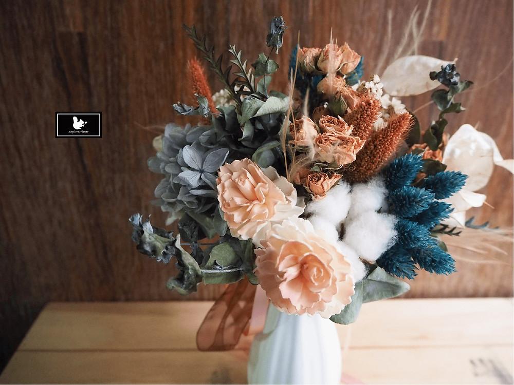 乾燥不凋小捧花與花瓶組