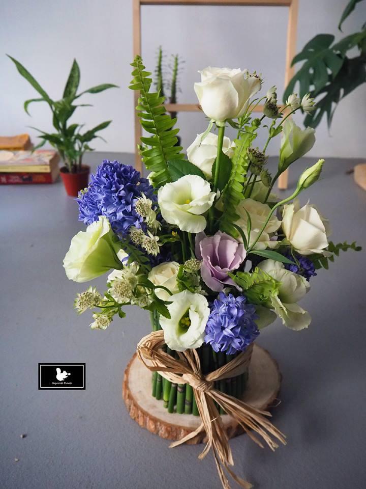 藍綠白客製盆花