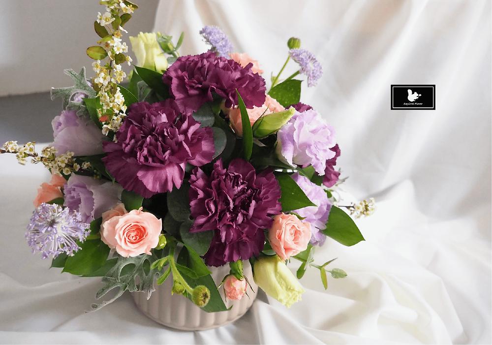 優雅紫色調圓形桌花