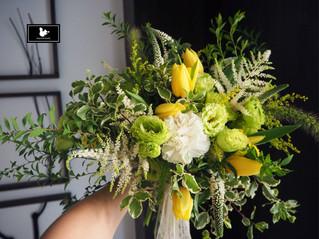 黃白綠色系捧花