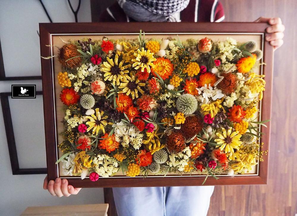 乾燥花壁飾;乾燥花掛框