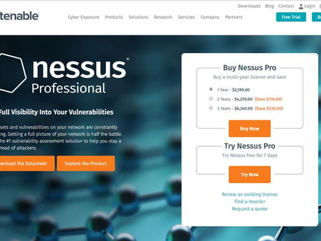 Nessus :  A security vulnerability scanning tool