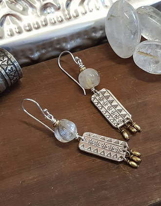 Vintage Crystal Tribal Earrings