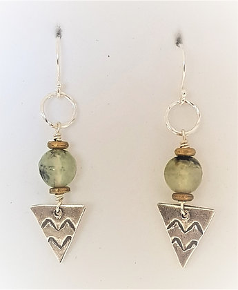 Faceted Prehnite Triangle earrings