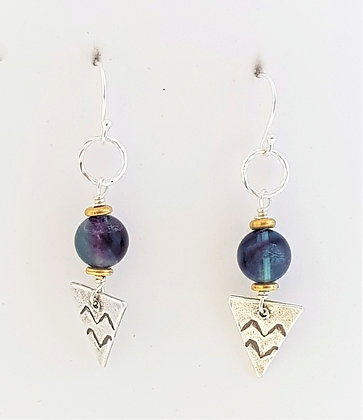 Fluorite small triangle earrings