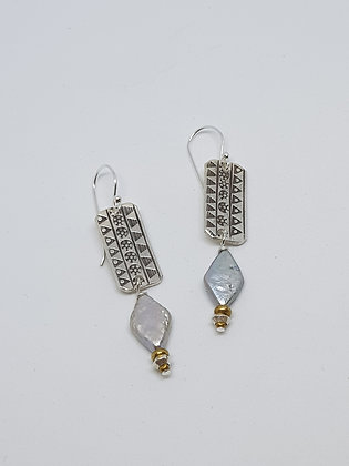 Pearl and Hilltribe Silver Earrings