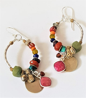 Colourful Oval Hoop Earrings