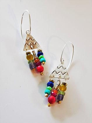 Petite Colourful Triangle Earrings
