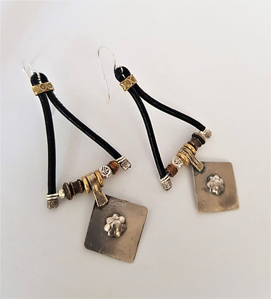 Large Vintage Triangle leather Earrings