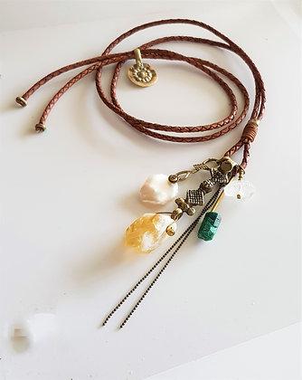 Vintage Citrine Cluster Necklace