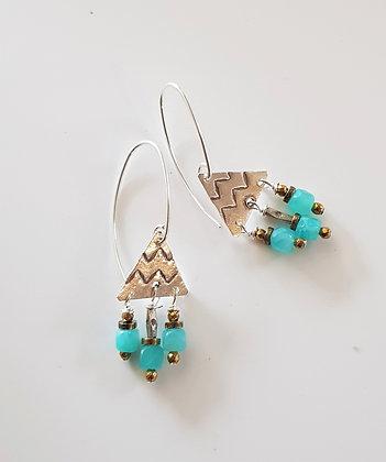 Petite Amazonite triangle Earings