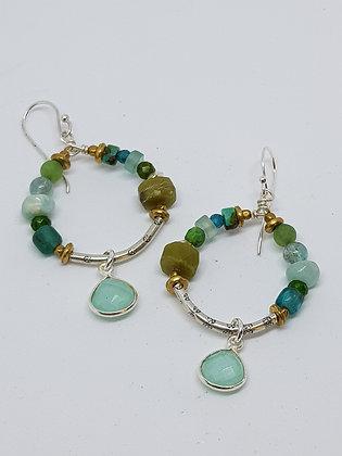Medium hoop  Blue/green earrings