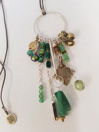 Green Cluster Ring Pendant