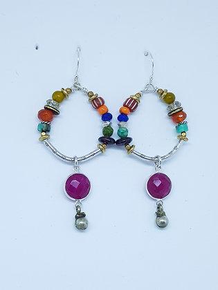 Multi colour hoop earrings