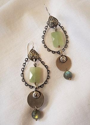 Vintage Labradorite and Prehnite Earrings