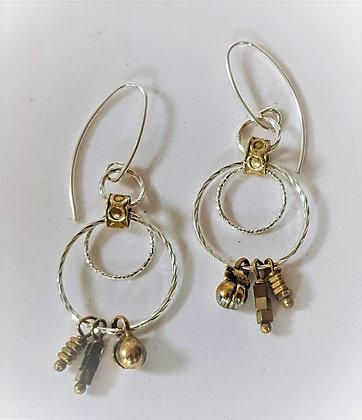 3 Silver Rings Earrings